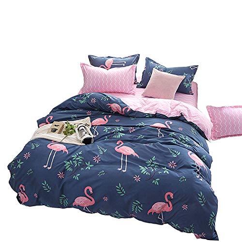 Loussiesd Kinder Betten Set Rosa Flamingo Bettwäsche Set Weiche Microfaser Reversible Blau und Rosa Blumen Flamingo Bettbezug mit 1 Kissenbezug 2 teilig 135x200 cm + 80x80 cm Jungen Mädchen