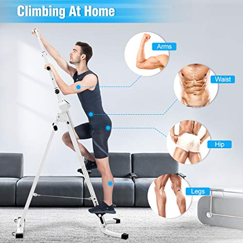 Product Image 6: Doufit Vertical Climber Exercise Machine, CM-01 Heavy Duty Folding Climbing Machine for Home Workout, Fitness Stair Climber with LCD Monitor (Max Capacity 220Lbs) (Silver)