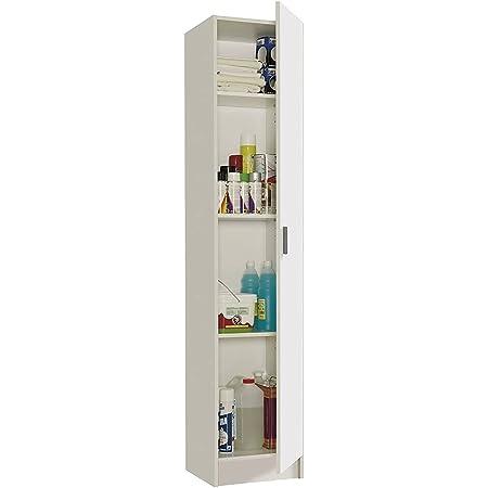 Mediawave Store - Meuble colonne 240787 Armoire multifonction 1 porte en bois blanc, meuble, ameublement maison, cuisine, salle de bains, buanderie, gain de place 37 x 37 x 180 cm