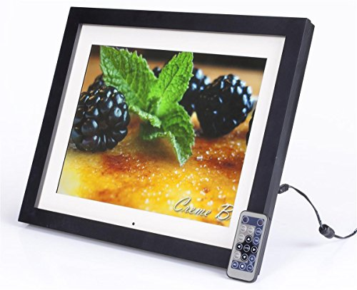 "15"" Digital Photo Frame with Mat, LCD Screen with 4:3 Aspect Ratio for Slideshow Presentations, Built-in Speakers, 2 GB of Memory, Easel Back for Tabletop Use - Authentic Wood Frame with Matte Black Finish Digital Frames Picture"