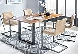 SalesFever Essgruppe Baumkanten-Tisch aus Akazie und Armlehnstühle Alessia Tisch 180x90 cm + 6 café Latte Stühle, Cognac/Schwarz
