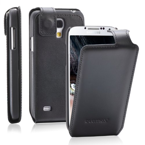Blumax Galaxy S4 Mini Flipstar/Lederhülle/Ledertasche/Hülle/Hülle/Cover/Etui/Tasche Samsung aus echtem Leder Schwarz Handy aufklappbar mit Magnetverschluss