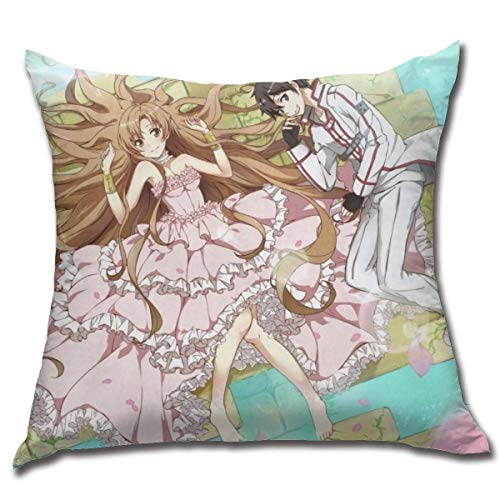 NOON Sword Art Online-Kirito and Asuna Cotton Fleece Comfortable Anime Hug Pillowcase Anime Style Pillowcase Fundas para Almohada 26x26Inch(65cmx65cm)