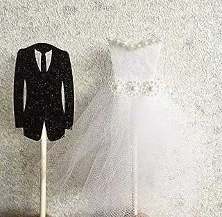12 PCS Romantic Groom Tuxedo Bride Dress Cupcake Topper Wedding Banquet Engagement Food Picks