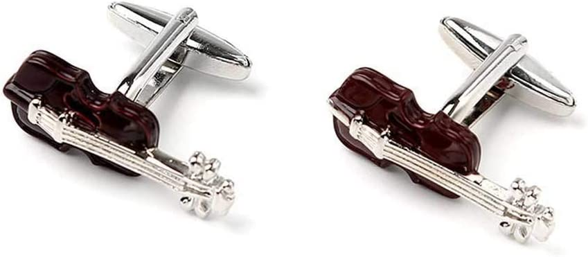 HXF Clean Royal Blue Violin French Cufflinks Male Creative Cartoon Cute Fashion College Trend Neat (Color : Coffee Color)