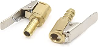 ELECTROPRIME 2Pcs Tyre Valve Air Connector Car Airline Inflator for 8mm Hose Brass Lock Clip