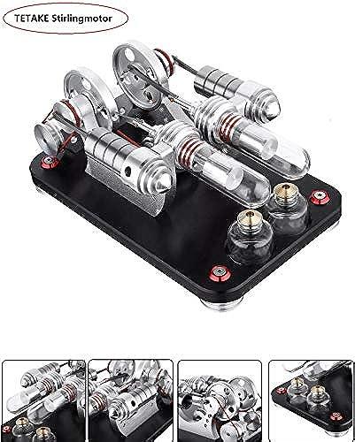 TETAKE Stirlingmotor Bausatz   2 Zylinder Stirlingmotor mit Generator Sterling Motoren Stirling Engine kit für Technikinteressierte Bastler