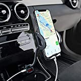 Phone Holder for Car, Amoner Adjustable 4 in 1 Car Phone Mount Cigarette Lighter Cell Phone Car Mount with Dual Port USB Charger Compatible iPhone 11 X 8, iPad, Galaxy S9 S8, Mate20 P30, GPS and More
