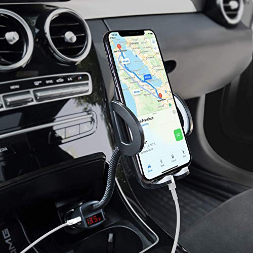 Phone Holder for Car, Amoner Adjustable 4 in 1 Car Phone Mount Cigarette Lighter Car Phone Holder with Dual Port USB Charger Compatible iPhone 11 X 8, iPad, Galaxy S9 S8, Mate20 P30, GPS and More
