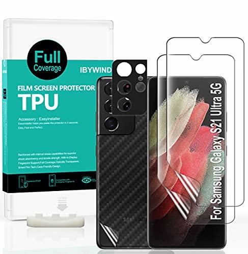 Ibywind Protector de Pantalla para Samsung Galaxy S21 Ultra 5G [2 Piezas],con Protector de Lente de Cámara,Atrás Pegatina Protectora Fibra de Carbono,[Admite la función de Huella Digital]