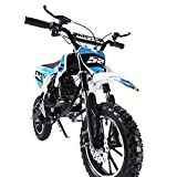 TOXOZERS 52cc 2-Stroke Gas Mini Dirt Bike Aluminum Frame Gas Scooter Off Road Motorcycle Pit Bike with EPA Approved Motorbike (Blue)