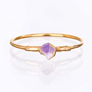 Raw Amethyst Ring, Yellow Gold, Size 8 Mini Stacking Ring, February Birthstone