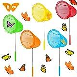 LWZko 5 Piezas Redes Mariposa, Redes Pesca Extensibles, Red Mariposas Telescópica, Nylon Red Pesca Extensible para Niños Captura Insectos, Peces Pequeños, Insectos (5 Colores)