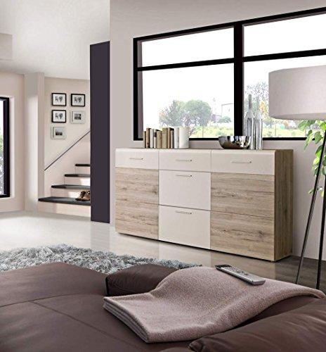 lifestyle4living Sideboard in Sandeiche-NB und weiß, mit 2 Türen, 3 Schubkästen und 2 Einlegeböden, Maße: B/H/T ca. 179,6/100,9/41 cm