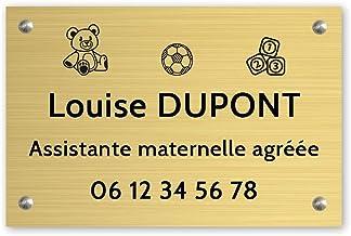 Personaliseerbaar bord voor kleuterschoolassistent, personaliseerbaar, 30 x 20 cm, goudkleurig, zwarte letters, schroeven...