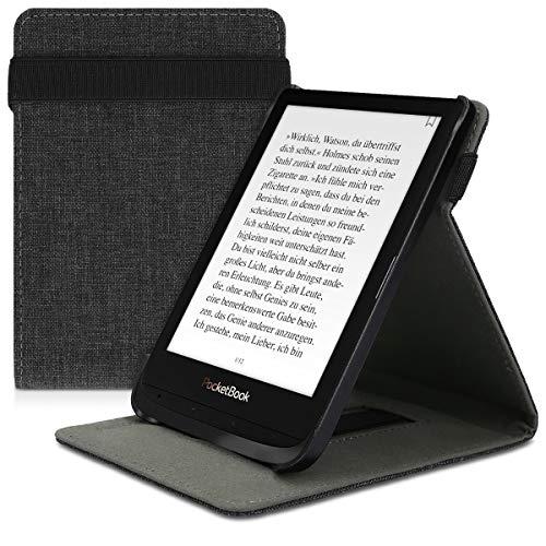 kwmobile Hülle kompatibel mit Pocketbook Touch Lux 4/Lux 5/Touch HD 3/Color (2020) - Schlaufe Ständer - e-Reader Schutzhülle - Stoff Dunkelgrau