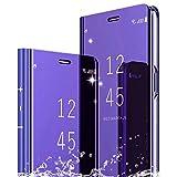 TOPOFU Funda para Samsung Galaxy A32 4G Cáscara,Ultra Delgado Inteligente Espejo Brillante Funda [360° Protection] [Soporte Plegable] [Anti-Scratch] Flip Case Cover para Samsung Galaxy A32 4G-Púrpura