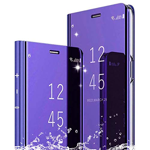 TOPOFU Funda para Xiaomi Redmi Note 10 5G Cáscara,Ultra Delgado Inteligente Espejo Brillante Funda [360° Protection] [Soporte Plegable] [Anti-Scratch] Flip Case Cover-Púrpura
