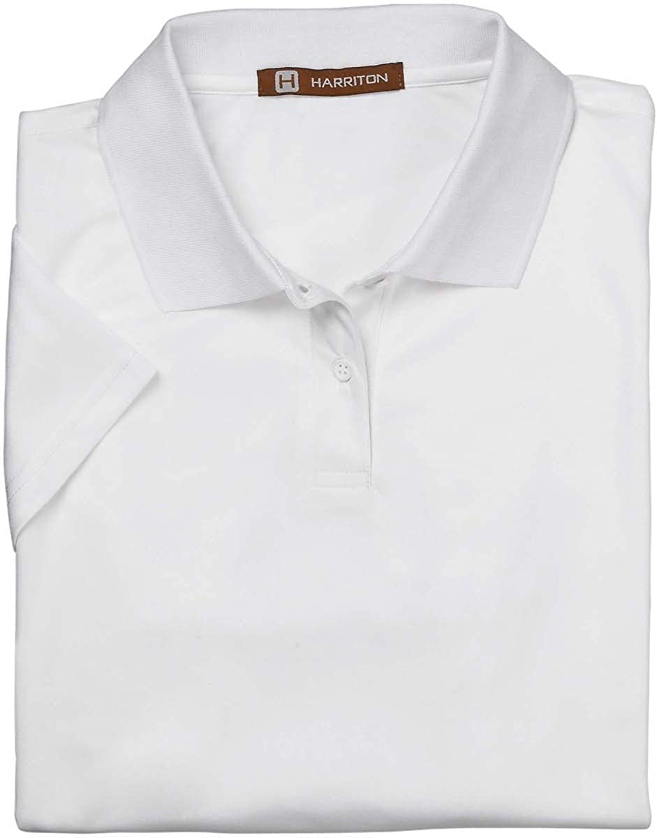 Harriton Ladies' 4 oz. Polytech Polo White L