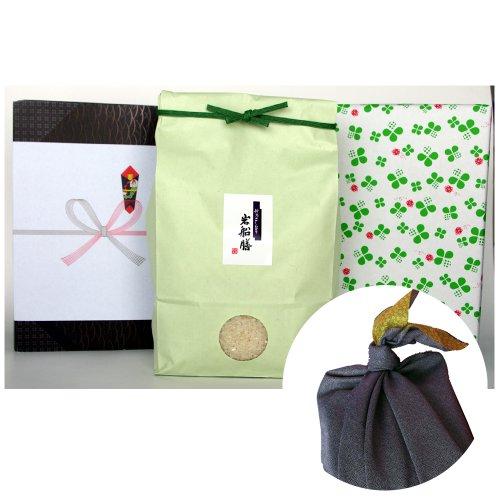 新潟県産コシヒカリ (アイガモ農法・米袋:緑・包装紙:緑・風呂敷:青)2キロ