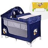 Lit parapluie bébé/Lit pliant à 2 niveaux SAN REMO 2+ Bleu Lorelli