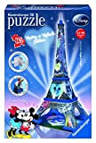 Disney- Mickey & Minnie Tower and Mouse Puzzle 3D Torre Eiffel EDICION Mickey Y Minnie, Color Azul, Negro, Rojo, Blanco, Miscelanea (Ravensburger 12570 8)