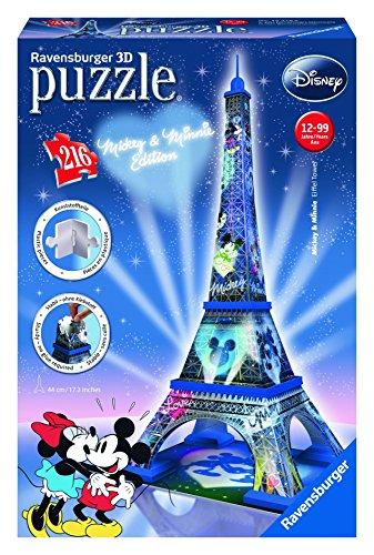 Disney- Mickey & Minnie Tower and Mouse Puzzle 3D Torre Eiffel EDICION Mickey Y Minnie, Color Azul, Negro, Rojo, Blanco, Miscelanea (Ravensburger 12570 8)