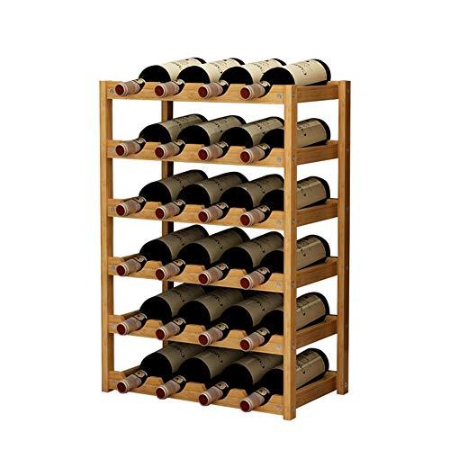 ZCJB Casier à vin 24 Présentoirs À Vin, Sur Pied Bambou À 6 Niveaux Support de Stockage de Bouteilles de Vin, pour Salon/Cuisine/Salle À Manger