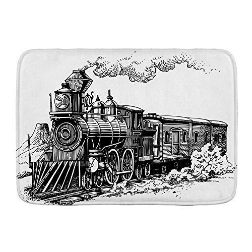 N\A Alfombra de baño, máquina de Vapor, Tren Antiguo rústico en el Campo, Locomotora, vagones de Madera, ferrocarril, con Humo, alfombras de Felpa para decoración de baño con Respaldo Antideslizante