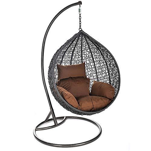 Home Deluxe - Polyrattan Hängesessel - Cielo - inkl. Gestell, Sitz- und Rückenkissen | Hängestuhl Gartenschaukel Hängekorb