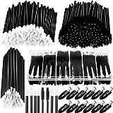 263 Pieces Makeup Applicators Tools Kit, Includes 50 Disposable Eyeliner Brushes 100 Lipstick Applicators Lip Wands 100 Mascara Wands Eyelash Brush 12 Makeup Hair Clips with Plastic Organizer Box