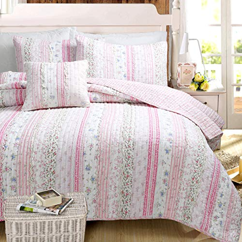 Cozy Line Home Fashions Pink Rose Blue Flower Floral Printed Lace Stripe 100% Cotton Reversible Bedding Quilt Set (Pink Lace, Full/Queen -3 Piece)