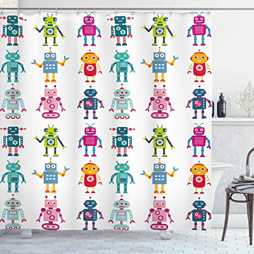 Cortina de Baño, Robot de Dibujos Animados, Material Resistente al Agua Durable Estampa Digital, 175 x 200 cm, Multicolor