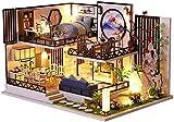 Hongjingda Casa de muñecas en Miniatura con Muebles Kit de casa de muñecas de Madera DIY Casa de Campo LED de Madera Casa montada a Mano a Escala 1:24 para niños Regalo