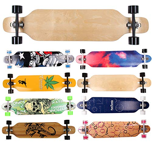 FunTomia Longboard Skateboard Drop Through Cruiser Komplettboard mit Mach1 High Speed Kugellager T-Tool mit und ohne LED Rollen