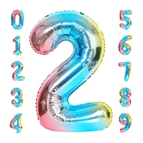 vita dennis Luftballons Zahlen,Folienballon Zahl 100cm/40 Inch XXL Zahlen-Ballons,Zahlenballons mit Aufhängeöse Party Geschenk Dekoration Geburtstagsdeko Luftballons(Zahl 2