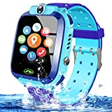 Kids Waterproof Smart Watch Phone Girls Boys Smartwatch with LBS Tracker Two Way Call SOS Micro Chat Camera Anti-Lost Math Game Touch Screen Games Alarm Clock Gizmo Watch Birthday Gifts (IP67 Blue)