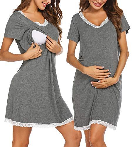 Ekouaer 3 in 1 Delivery/Labor/Nursing Nightgown Hospital Robe for Breastfeeding Grey