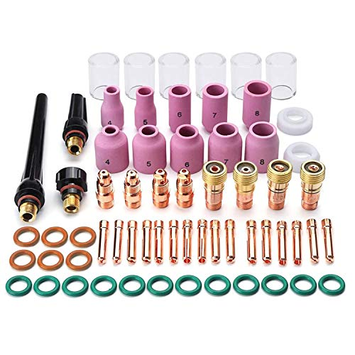 6pcs Set Welding Torch Glass Pyrex Cups TIG Gas Lens Filters O-Rings Attachment