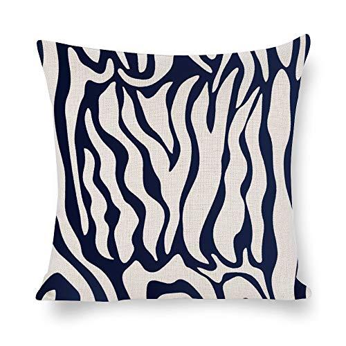N/ A Animal Skins - Funda de cojín cuadrada para sofá, diseño abstracto de cebra, Lino, Como se muestra en la imagen, 22x22 inch
