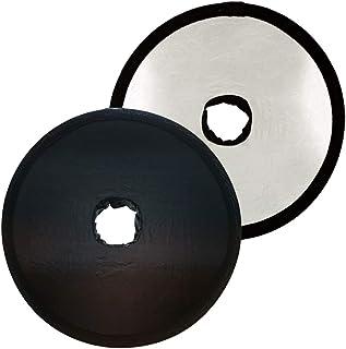 [Roke] レフ板 折りたたみ 穴あき 夜景レフ 小型タイプ 46cm 黒面 銀面 両面タイプ 映り込み防止 飛行機 電車 料理 撮影 JM-077