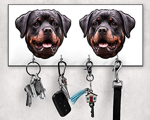 Schlüsselbrett, Rottweiler-Leinenhalter, Rottweiler-Besitzergeschenke, Schlüssel- und Leinenhalter für Wand, Wanddekoration, Wandorganizer, Hundeleinenhalter, Größe 28x12cm