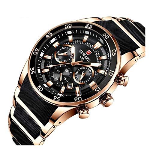 QIU Relojes para Hombre Relojes para Hombre Reloj de Lujo Reloj de Cuarzo Silicona Acero Moda Hombres Cronógrafo Deporte Reloj de Pulsera Dropshipping (Color : Black Rose Gold)