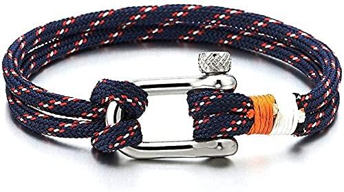 Ahuyongqing Co.,ltd Hombres Mujeres Acero Tornillo Ancla Grilletes Náutico Marinero Cuerda Envoltura de cordón Pulsera Brazalete