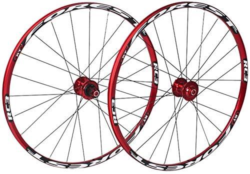 Juego De Ruedas De Bicicleta 26/27.5 En Bicicleta MTB Llanta De Doble Capa 7 Rodamientos Sellados 11 Velocidad Cassette Hub Freno De Disco QR 24 Agujeros 1850g,White-26inch
