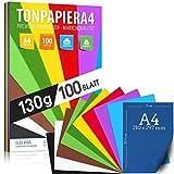 100 hojas de PAPEL DE ROPA - papel de colores A4-130 g/m² set 10 colores - papel artesanal estable y hojas de colores, accesorios para la elaboración de regalos de álbumes de fotos