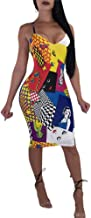 Women Sexy Spaghetti Strap V Neck Rainbow Striped Bodycon Pencil Party Club Summer Dress