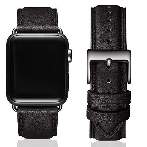MNBVCXZ Lederbänder für Apple Watch Armband 44mm 42mm 40mm 38mm,Männer Frauen Ersatz-Echtlederband für iWatch Serie 5 4 3 2 1 Sport,Edition (42mm 44mm, Schwarz&Schwarz Adapter)
