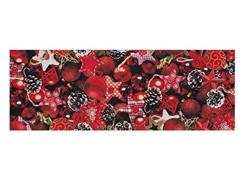 BiancheriaWeb Tappeto Passatoia Natale Antiscivolo Stampa Digitale Sprinty Dis. Mix Rosso 50x230 Rosso
