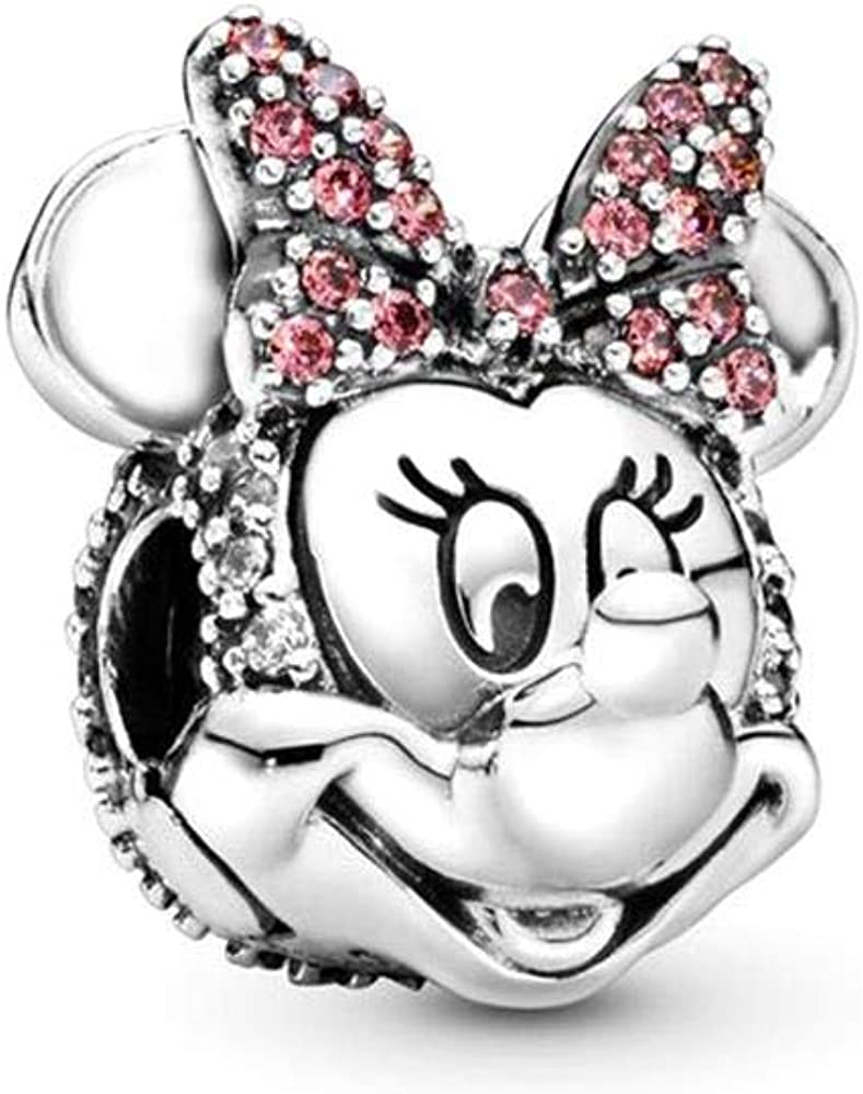 Pandora ciondolo charm disney, clip minnie con fiocco rosa e pavé in argento sterling 925 per donna 797496CZS